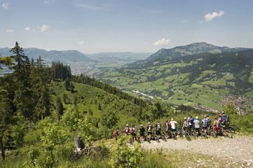 Mountain bikers, Sonthofen, Schattwald, Bavaria, Germany