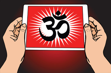 Hands holding a tablet on which is depicted the most important symbol in Hinduism - Om. Red background, vector