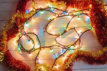 Christmas decoration lights. In anticipation of the holiday.