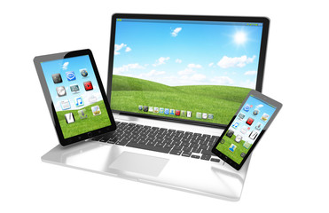 Laptop mobile phone and tablet connected to each other 3D rendering
