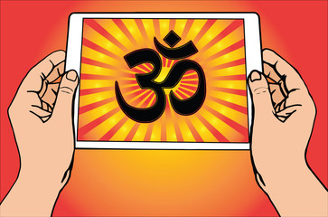 Hands holding a tablet on which is depicted the most important symbol in Hinduism - Om. Gradient red and gold background, red and gold sun rays, vector