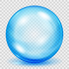 Transparent light blue sphere with shadow. Transparency only in vector file