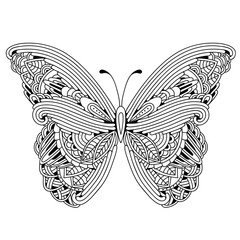 Hand drawn butterfly zentangle style inspired for t-shirt design or tattoo. Coloring book for kids and adults.
