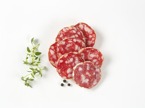 French dry cured sausage slices