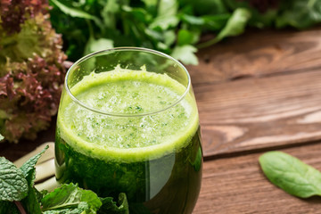 Refreshing healthy vegetarian smoothie from greens