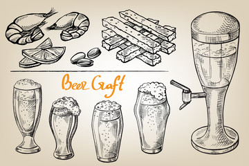 collection of beer items beer mug glass and appetizer in graphic style vector illustration