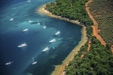Yachts in a bay, Istria, Croatia