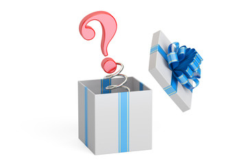 Question Mark Jack in the Gift Box, 3D rendering