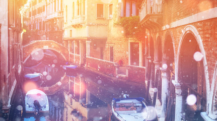 Canal in Venice, Italy. Photo greeting card. Bokeh light effect,