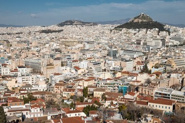 Athens, Greece - February 12, 2017: Sunny panoramic view of Athens