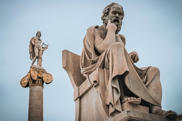 Athens, Greece - February 12, 2017: The statue of Socrates at the National Academy of Athens - vintage version