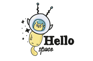 Cat in space. cheerful picture for a t-shirt . Hello space.