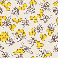 Vector seamless pattern with linear bee and yellow honeycombs. Organic honey background. Concept for honey package design, label, wrapping, prints.