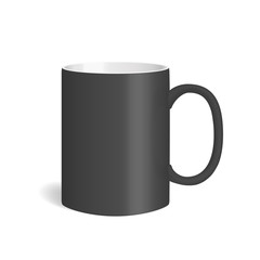 Vector realistic ceramic black mug. Isolated cup with shadow on white background.