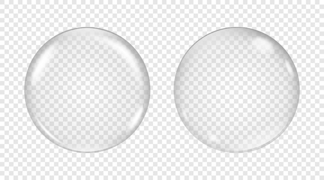Vector transparent soap bubble on a light background.