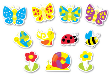 stickers set with butterflies, flowers, bird and bee / little creatures collection