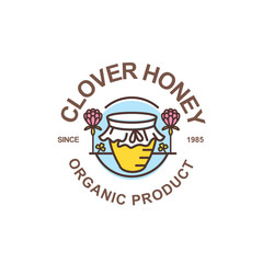 Outline honey pot vector logo. Round label, emblem or sticker with linear jar and clover flowers isolated on white background. Concept for organic clover honey package design.