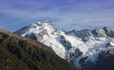 New Zealand Southern Alps near Mount Cook. South Island of New Zealand. This area is home to amazing mountains, glaciers and hiking opportunities.