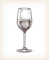 Hand drawn vector illustration of wineglass.