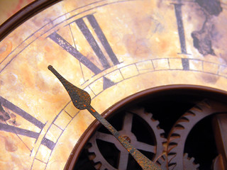 Close up of antique clock hands