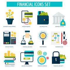 Banking money financial services set credit sign development online accumulation and bank investment management service vector illustration.