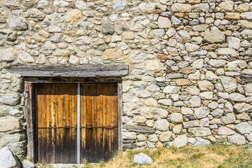 Entrance to an old stone barn