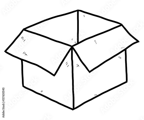 paper box cartoon vector and illustration black and white hand