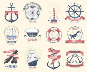 Fashion nautical logo sailing themed label or icon with ship sign anchor rope steering wheel and ribbons travel element graphic badges vector illustration.