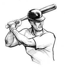 Retro baseball player