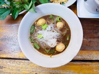 thai style meat ball noodle soup