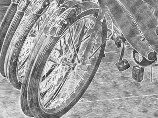This is an abstract illustration of bicycles lined up so that their wheels make a pleasing repeat pattern.