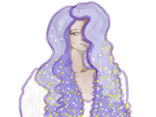 Hand drawn colorful portrait of a girl with violet hair, isolated illustration painted by butter and watercolor