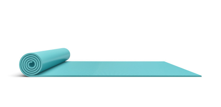 Rendering of blue half rolled yoga mat isolated on white background.