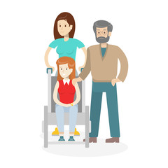 Help and care for disabled on white background. Young woman in wheelchair with male and female helpers.