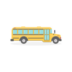 Isolated yellow school bus on white background. Transportation for pupils and students.