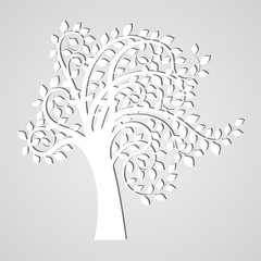 Abstract white tree with simple shadow