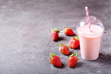 strawberry smoothie with fresh strawberries