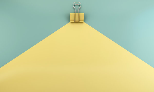 Yellow binder paper clip on green and yellow background - 3D render