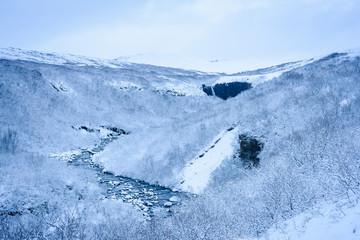 Beautiful white winter scenery in Skaftafell