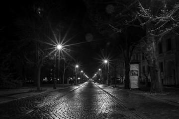 Hegelstraße am Dom in Magdeburg bei Nacht (schwarzweiß)