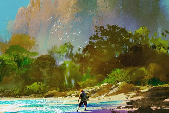 the castaway man standing on island beach,illustration painting