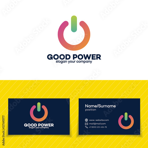 Power logo set modern colorful style design template and