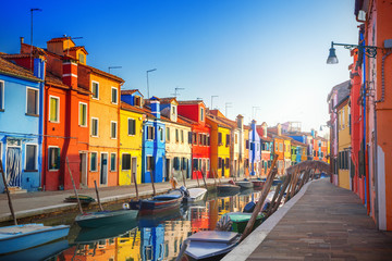 Fotorollo Venedig Colorful houses in Burano, Venice, Italy