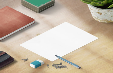 Mockup scene, paper blank with decoration for placing your design.