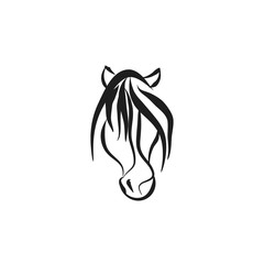 the horse head is from black lines on white background, abstract vector illustration