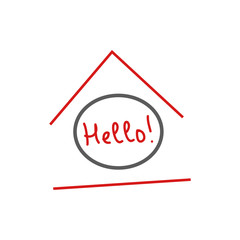 "Home ""Hello!"" logo from lines on white background, abstract vector illustration"