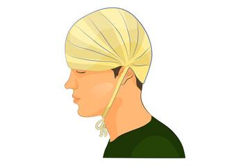 "bandage on the head ""cap"""