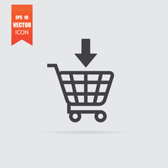 Add to shopping cart icon in flat style isolated on grey background.