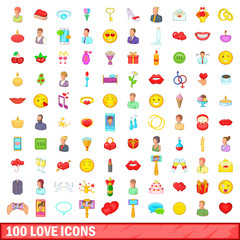 100 love icons set, cartoon style