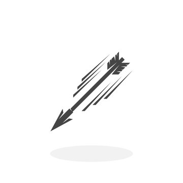 Flying arrow Icon. Vector logo on white background